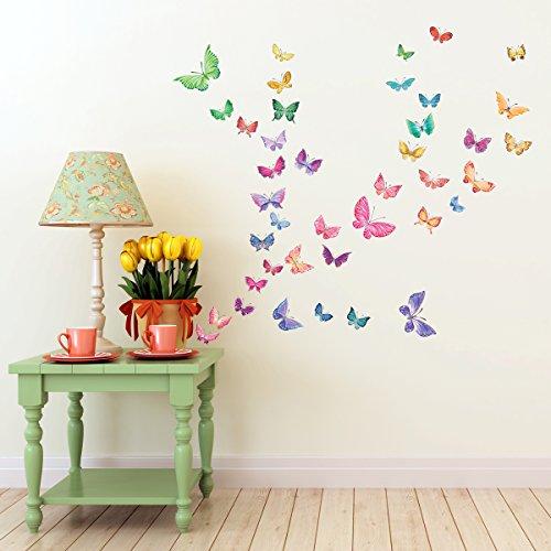 DECOWALL DW-1602 Mariposas en Acuarela Vinilo Pegatinas Decorativas Adhesiva Pared Dormitorio Saln Guardera Habitaci Infantiles Nios Bebs