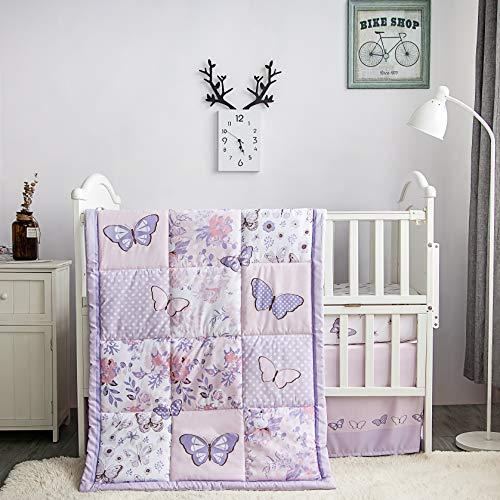 La Premura Butterfly Baby Nursery Juego de ropa de cama para niñas - Mariposa 3 piezas tamaño estándar cuna juegos de cama en rosa pastel y morado