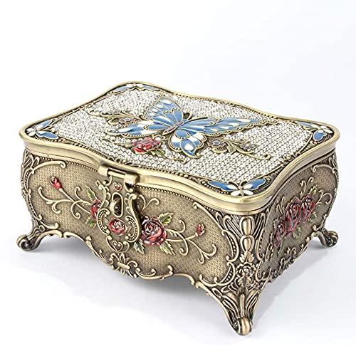 WOZUIMEI Organizador de Joyero de Mariposa de Diamante Vintage de Estilo Europeo con Cerradura Y Caja de Baratija de Espejo