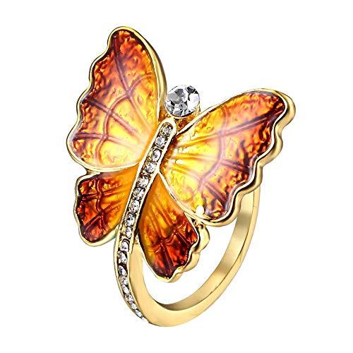 24 JOYAS Anillo Mariposa Dorada de Brillantes. Alianza de Compromiso, Boda Aniversario o Regalo romántico para Mujer (Naranja, 17)
