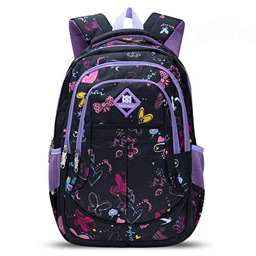 Bebamour Mochila para niños Mochila Escolar para niñas Mariposa y cariño Patrón Mochila para niños (Púrpura)