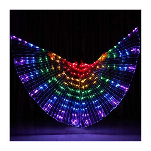XIALEY LED para Danza del Vientre, Alas De ISIS En Ángulo para Mujer, con Bolsa De Almacenamiento Portátil, Palos Telescópicos, Disfraz De Festival para Danza Egipcia, Ropa De Baile