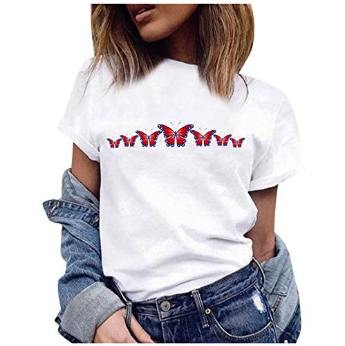 Camiseta de manga corta para mujer, de gran tamaño, con impresión de moda, cuello redondo, suelta, básica, blusa, sudadera, holgada, para verano, deporte, manga corta F-weiß1 XXXL