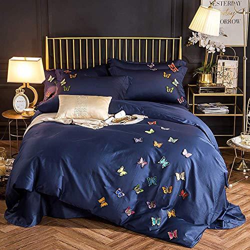 L.BAN Fundas de edredón Cama Doble Algodón Azul, Juego de Ropa de Cama Juegos de Fundas de edredón Mariposa de algodón Completo Bordado Tridimensional Juego de sábanas de satén de algodón Puro de