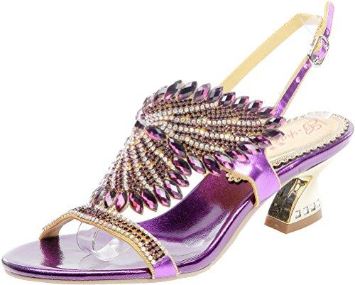 Zapatos de boda únicos con diamantes de imitación para mujer, de lujo, para novia, noche, con tacón grueso, con diseño de mariposa, color Morado, talla 41.5 EU