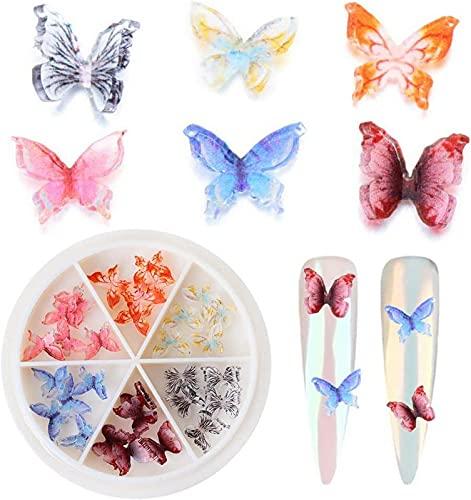 LCJD Decoración de uñas AB Crystal Mariposas Calcomanías Brillantes y Coloridos Diamantes de imitación de uñas Mariposas holográficas 3D Plástico acrílico (C)