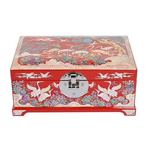 WOZUIMEI Joyero Vintage Caja de Madera para Joyería Almacenamiento para Anillos Pendientes Collar Joyería Antigua Caja de Regalo de Recuerdo Estuche para Mujer Caja de Baratijas