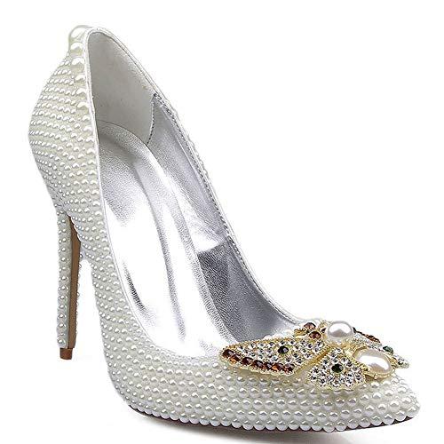 Zapatos de novia para mujer, con diseño de mariposa, color blanco y perla, con tacón fino, de moda, de alta gama, para cócteles, fiestas, 123, blanco, 38