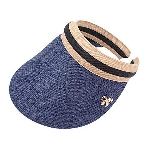 EOMJVCM Sombrero para el Sol Hecho a Mano DIY Straw Bowknot Visor Gorras Padre-niño Gorra de Verano Sombrero Casual Sombra Niño Azul