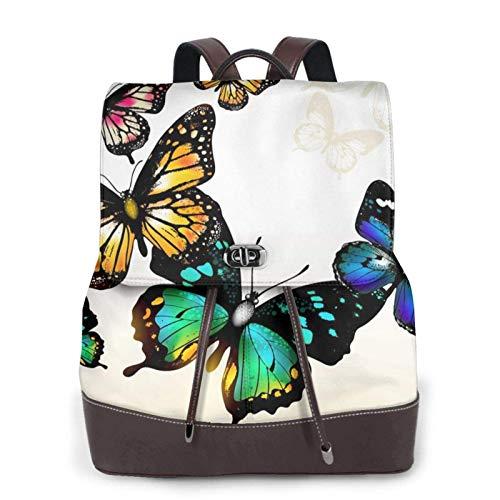 Mochila de cuero casual para mujer, mochila de colegio duradera, hermosa mariposa impresa bolso de viaje de moda bolso de hombro