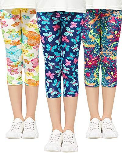 Adorel Leggings 3/4 Cortos Pantalon Estampado Niña Pack de 3 Salpicadura de Color & Flores & Mariposa 5-6 Años (Tamaño del Fabricante 120)