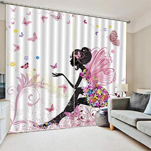 JLCP Cortinas Mariposa Rosa Femenina Impresión 3D Aislantes Térmicas Cortinas Opacas con Ojales para Decor Ventanas Guardería Dormitorio Sala De Estar,2xW215xH280cm