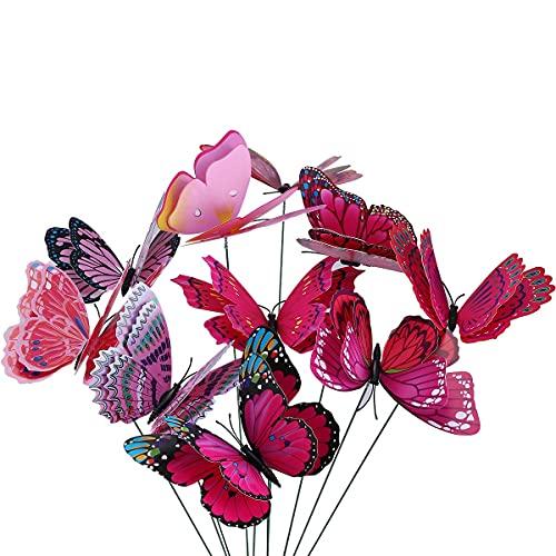 10 Piezas Mariposas en Varillas Para Decoración de Jardín, Mariposas de Jardín para Decoración de Planta,Patio, Flores Adornos para jarrón, Maceta,Morado/Rosa Mariposas