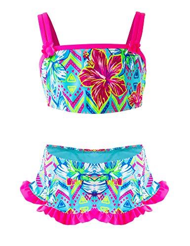Bañador de Dos Piezas para niñas, Bikini Floral con Volantes, Traje de baño de Playa, Traje de baño de Verano para niños
