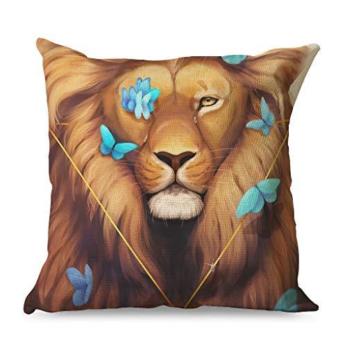 CCMugshop Fantasy lágrimas del Rey León Azul Mariposas Decorativas Funda de Cojín para Sofá Blanco 45 x 45 cm