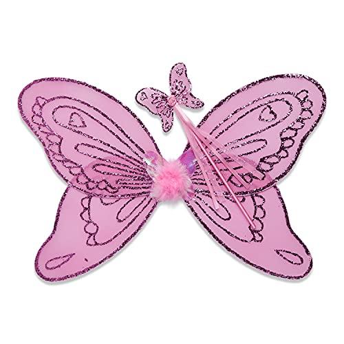 Lucy Locket – Disfraz de alas y Varita para niños – Alas de Hada Color Rosa – Alas para Disfraz de niña (3-10 años)