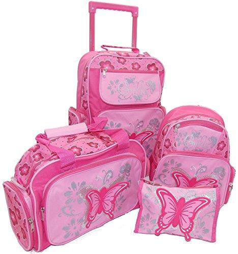 STEFANO RabamtaGO® - Maleta de viaje infantil, diseño de mariposas, color rosa, Juego de 4 piezas. (Rosa) - shoulder-handbags