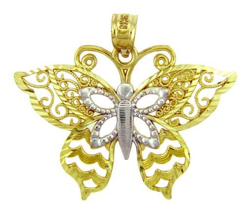 14 ct 585 / toneladas 1000Deux Oro Motyl Mariposa Colgante collar (Libro Con Cadena 45cm)