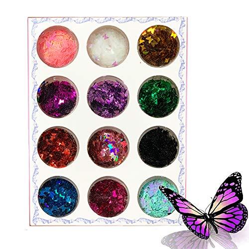 Kalolary 12 Colores Lentejuelas Glitter Uñas Decoracion Nail Sequins Confeti Nail Holográfico Mariposas Mixtos para Manicura Arte de Uñas Maquillaje Festival Cuerpo DIY