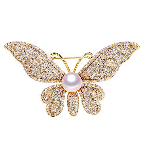CLEARNICE Broche de Perlas de Agua Dulce Natural Circón Micro Inserto Broche de Mariposa Joyas de Perlas para Mujeres Que no se desvanecen