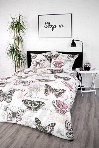 jilda-tex Ropa de cama 100 % algodón, diseño de 135 x 200 cm + 80 x 80 cm, con cremallera, funda nórdica de varios diseños (rosa vintage)