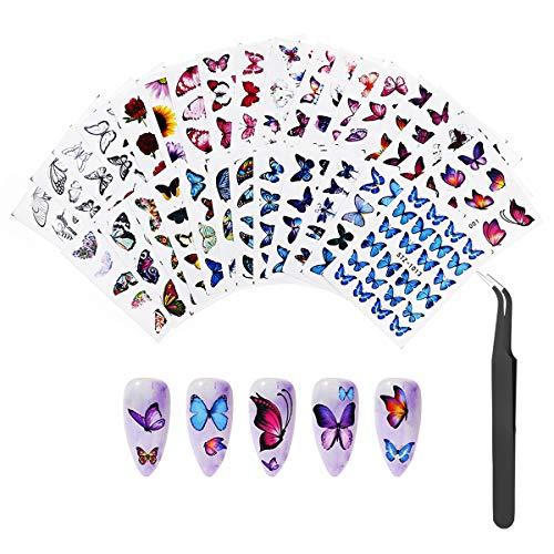 30 Hojas Pegatinas Uñas al Agua, Decorativa Pegatinas Transferencia Agua Uñas Nail Art Stickers con pinzas para Manicura Uñas