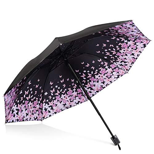 DORRISO Vogue Mujer Plegable Paraguas Mini Paraguas y Sombrillas Antviento Anti-UV Impermeable Ligero Viaje Paraguas Flor De Mariposa