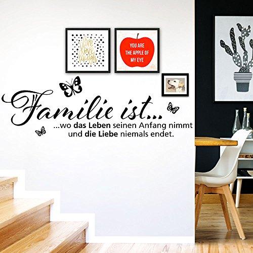 Grandora Adhesivo decorativo para la pared, diseño con cita en alemán «Familie ist...» y mariposas W970, vinilo, Negro , (BxH) 58 x 19 cm