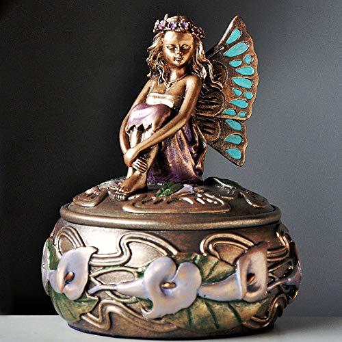 Hada de Las Flores Mariposa Decorativa con bisagras Caja Joyero para Mujer Tinket Box decoración del hogar