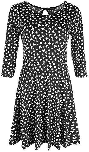 Emma & Giovanni - Vestidos Mujer Casual con Mango 3/4 (Made In Italy) - Mujer (Negro - Mariposa, ES 46 (Talla Fabbricante XL))