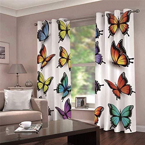HHJJ Super Suave aislada Termal Color de Ventana y de la Mariposa Impreso Aislamiento térmico Cortinas for ojetes Cortinas Opacas for el Dormitorio (Size : W336cmx L229 cm)