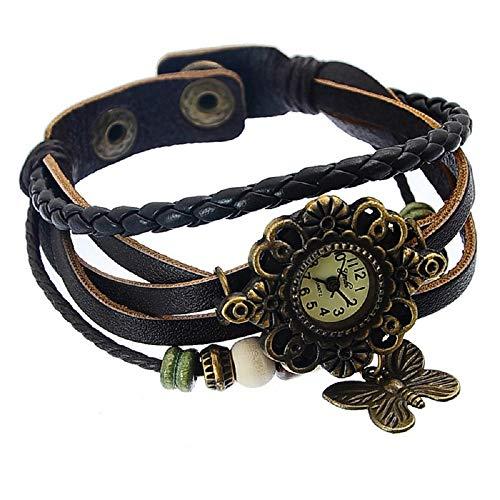 Godagoda Color Marrón Weave Wrap Artificial Correa de Cuero Reloj de Pulsera con Mariposa Charm