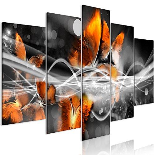 murando Cuadro en Lienzo Abstracto 200x100 cm Impresión de 5 Piezas Material Tejido no Tejido Impresión Artística Imagen Gráfica Decoracion de Pared Mariposas Negro Naranja a-A-0339-b-p