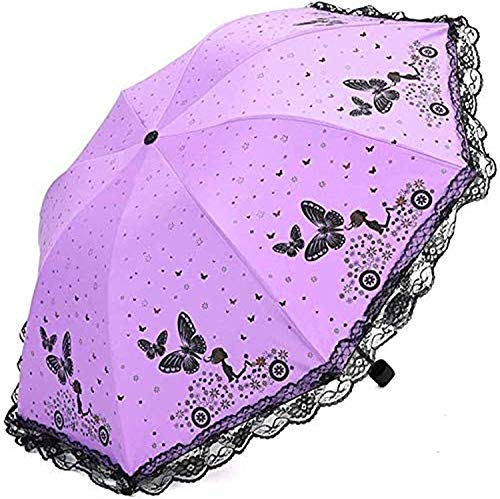 Paraguas portátil Paraguas plegable al aire libre mariposa encaje negro plástico paraguas a prueba de viento plegable paraguas parasol (color: a) Paraguas de viaje compacto a prueba de viento