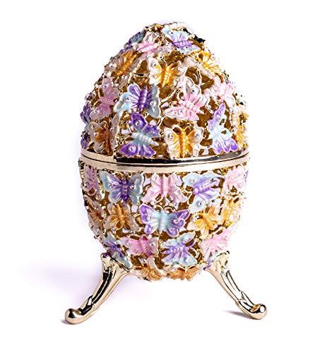 Keren Kopal Huevo Golden Faberge adornado con mariposas, joyero, huevo ruso con cristales de Swarovski, colección de huevos de pascua, diseño del hogar, idea de regalo