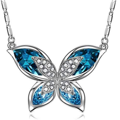 J.RENEÉ Mariposa Colgante Mujer, con Cristal Azul de Austria, Collares Mujer, Regalos Mujer