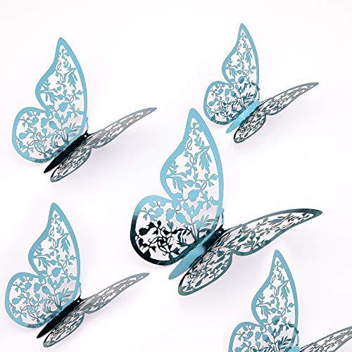 AIEX 24 Piezas Adornos De Mariposas 3D Pegatinas Extraíbles De Vivo Con 3 Tamaños Diferentes, Para Calcomanías De Pared, Adornos De Habitación De Niños, Decoración De Fiesta De Boda (Índigo)