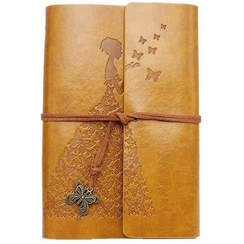 MaleDen - Diario de piel, diseño vintage con espiral, cuaderno de bocetos, recargable, con páginas en blanco, para mujeres y niñas