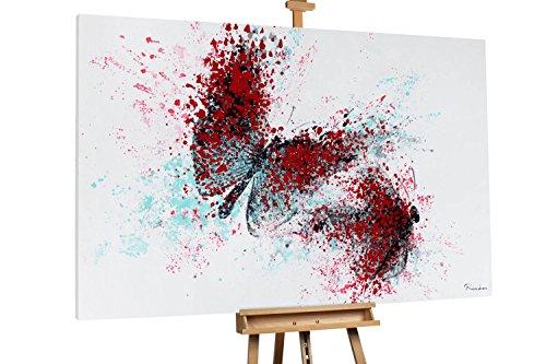 Kunstloft® Extravagante Cuadro al óleo 'Papillons Libres' 180x120cm   Original Pintura XXL Pintado a Mano en Lienzo   Decoración Abstracto Colorido Imagen   Mural de Arte Moderno en una Pieza