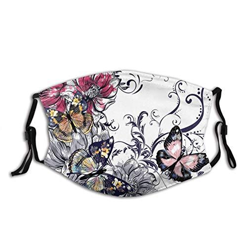 223 Mascarilla de mariposa con filtro, filtros transpirables ajustables máscara mariposa pasamontañas para hombres y mujeres