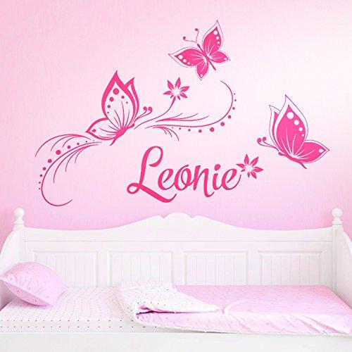 Wandaro W3275 - Adhesivo Decorativo para Pared, diseño de Flores y Mariposas, Vinilo, Rosa Claro, (BxH) 84 x 57 cm