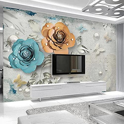 SUNNYBZ 3D Mural De Pared Joyas Flores Hojas Mariposas 400X280 Cm Niños Niños Bebés Habitación Guardería Cómic Toy Store Oficina Decoración Extraíble Autoadhesiva Decoración Mural Arte Vinilo Pegatina