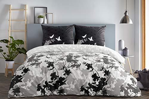 Etérea juego de ropa de cama de algodón reforzado Osaka, diseño de mariposas, 135x200, 155x220, 200x200 cm, 100% algodón, gris, 3 tlg./220x240 + 2Stk. 80x80 cm