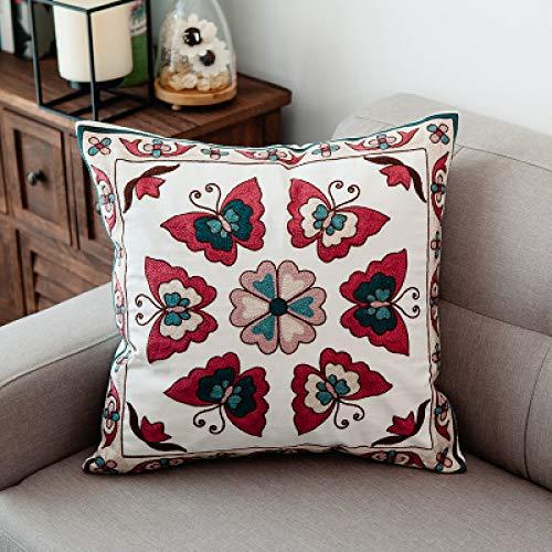 SDCVRE Funda de Almohada Funda de cojín Bordada de algodón con Hojas y Mariposas para decoración del hogar, Funda de Almohada, Funda de Almohada para sofá, K, 45x45cm