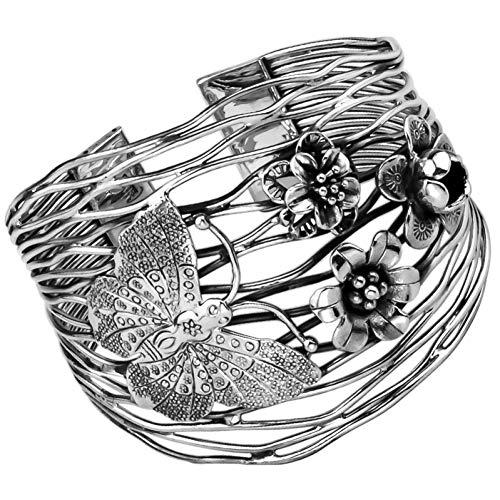 FyaWTM Pulsera Plata de Ley925Pulsera de Placa Ancha de Flor de Mariposa de Apertura Retro Hecha a Mano de Plata de diseño Original