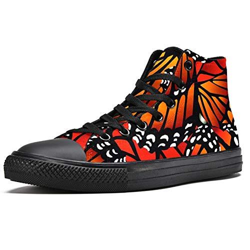 Josid High Top Sneakers para hombres Naranja Monarca Mariposas Moda Encaje hasta Zapatos de lona Casual Zapatos de caminar, (Multi color), 43.5 EU