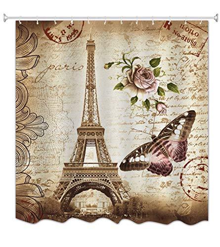 A.Monamour Marrón Moteado Fondos Floral Mariposa París Torre Eiffel Torre Postal con Estampilla Moho Tela Poliéster Resistente Cortinas De Ducha De Tela Poliester para Cuarto De Baño 150x180 cm