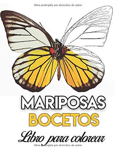 Mariposas libro para colorear: libro de dibujos para pintar colorear acuarela fácil acrílico oleo