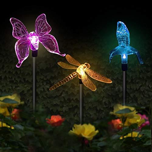 Luces solares para jardín, 3 unidades, luces solares de jardín, multicolor cambiantes con energía solar, iluminación decorativa de paisaje, colibrí, mariposa, libélula para caminos al aire libre