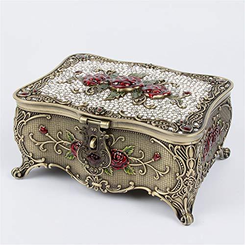 joyeros,Joyero de mariposa de diamantes vintage, caja de almacenamiento de joyería de espejo con Lock-Rose